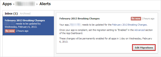Facebookアプリアラート