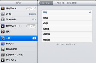iPad miniパスワード頻度設定