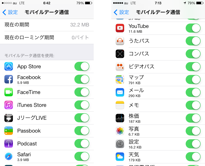 iPhone5s 7GB制限